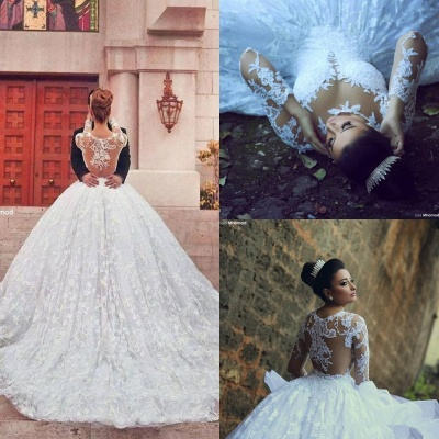 Train Long Sleeve Lace Wedding Dresses with Sweep New Arrival Ball Gown Bridal Gown_4