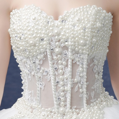 Glamorous Sweetheart Pearls Wedding Dresses 2020 Ball Gown Tulle Bridal Gown_5