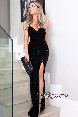 Cheap Black Side-Slit Sheath Prom Dresses | V-Neck Sleeveless Floor-Length Sequins Evening Dresses BC1100_1