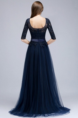 Elegant Half-Sleeve Lace Evening Dress | 2020 Long Tulle Prom Gowns_5