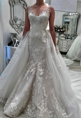 Stunning V-Neck Sleeveless Lace Wedding Dresses | 2020 Ruffles Appliques Bridal Gowns_1