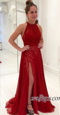 Halter Long Chiffon Evening Gowns   2020 Prom Dress With Appliques_2