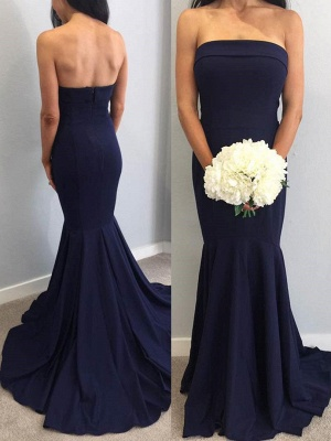 Fashion Strapless Sleeveless Mermaid Maid Of Hornor Dress | Navy Bridesmaid Dress On Sale_2
