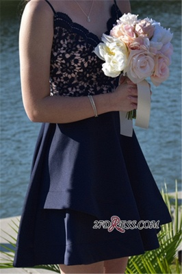 Lace Sexy Navy-Blue V-neck A-line Short Spaghetti-Straps Homecoming Dresses_3