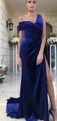 Gorgeous One-Shoulder Ruched Prom Dress | Mermaid Long Evening Gowns With Split BC0501_3