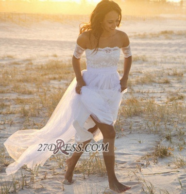 Elegant Off-the-shoulder Tulle Long Beach Wedding Dress With Lace Appliques_2