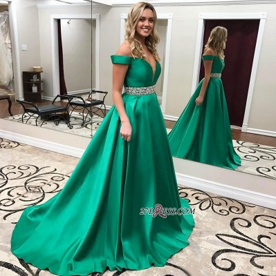 Crystal Off-the-Shoulder Gorgeous Green 2020 Prom Dress_2