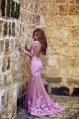 Modern Long Sleeve Mermaid Prom Dress Floor-length With Lace Appliques_4