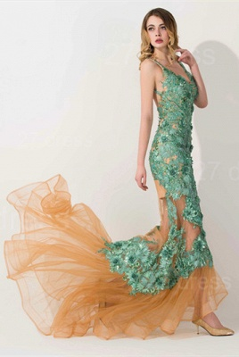 Sexy Appliques V-neck Mermaid Prom Dress Sweep Train_2