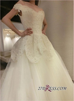 2020 Tulle Beads Newest Lace-Appliques Off-the-shoulder Long-Train Wedding Dress_3