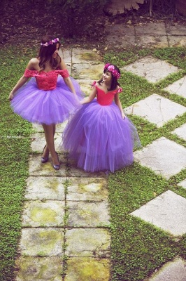 Newest Off-the-shoulder Tulle Mother And Daughter Dress With Lace_1