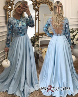 Lace Long-Sleeves Beaded Blue A-Line Scoop Evening Dress_2