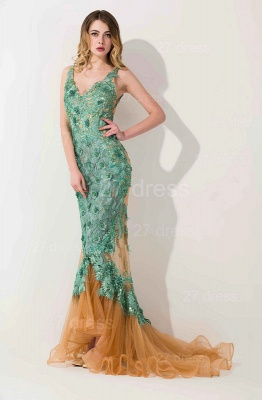 Sexy Appliques V-neck Mermaid Prom Dress Sweep Train_1