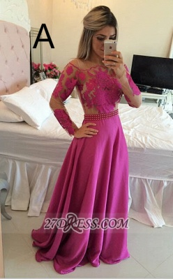 Gorgeous Long Sleeve Lace Prom Dress Long Chiffon Evening Gowns BT_5
