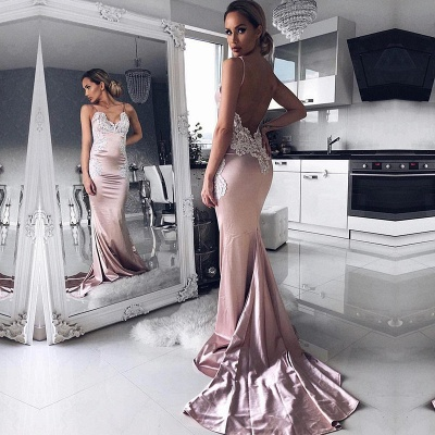 V-neck Spaghetti Straps Prom Dress | Mermaid Lace Evening Party Gowns_3