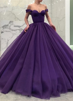 Glamorous Off-the-Shoulder-Grape Prom Dresses | 2020 Ball Gown Evening Dresses_1