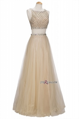 Chic Beading Tulle Two-Piece A-line Prom Dresses_5