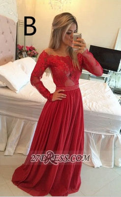 Gorgeous Long Sleeve Lace Prom Dress Long Chiffon Evening Gowns BT_6