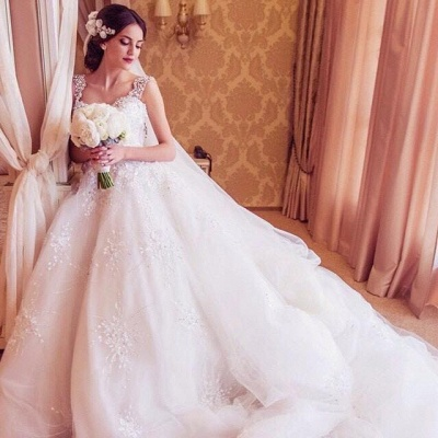Princess Straps Ball Gown Wedding Dresses 2020 With Beadings Appliques_3
