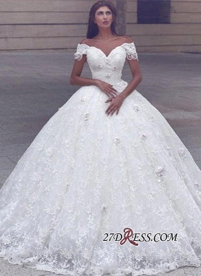 Ball-Gown Lace Glamorous Cap-Sleeve Lace Wedding Dress_2
