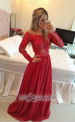 Gorgeous Long Sleeve Lace Prom Dress Long Chiffon Evening Gowns BT_3