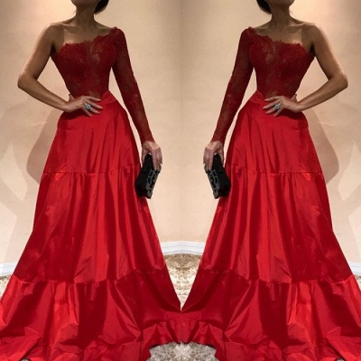 Gorgeous One-Shoulder 2020 Evening Dress | Lace Red Prom Party Gowns_3