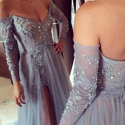 Sexy V-neck Long Sleeve Evening Dress Front Split Open Back Train Prom Gowns With Beadings_2