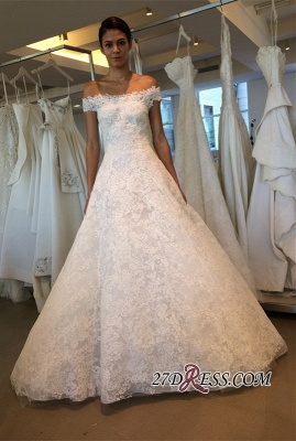 Off-the-shoulder Lace A-line Newest Wedding Dress_2