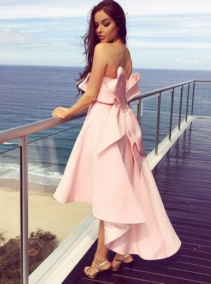 Fashion Pink Bow Strapless Bridesmaid Dress | 2020 Tea-length Sleeveless Bridesmaid Gown_3