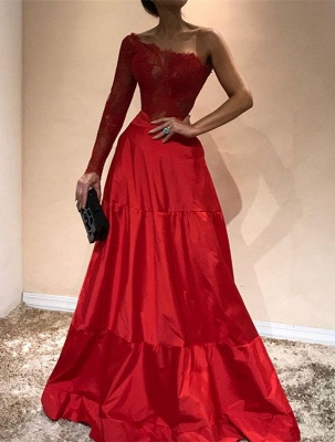 Gorgeous One-Shoulder 2020 Evening Dress | Lace Red Prom Party Gowns_1