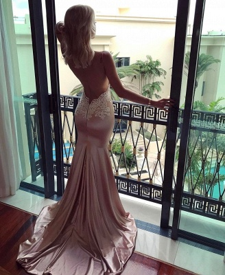 V-neck Spaghetti Straps Prom Dress | Mermaid Lace Evening Party Gowns_4