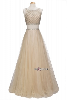 Chic Beading Tulle Two-Piece A-line Prom Dresses_6