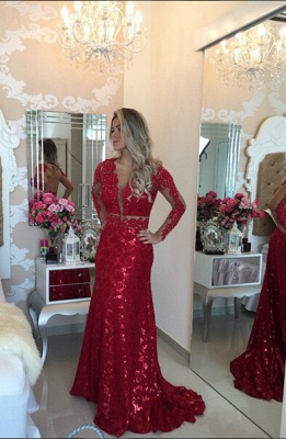 Glamorous Red Mermaid Sequins Prom Dress 2020 Lace Appliques Backless_1