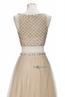 Chic Beading Tulle Two-Piece A-line Prom Dresses_2