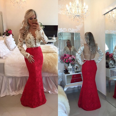 2020 Long-Sleeves Mermaid Popular Lace Beadings Floor-Length Prom Dresses_3