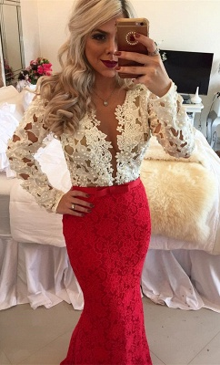 2020 Long-Sleeves Mermaid Popular Lace Beadings Floor-Length Prom Dresses_2