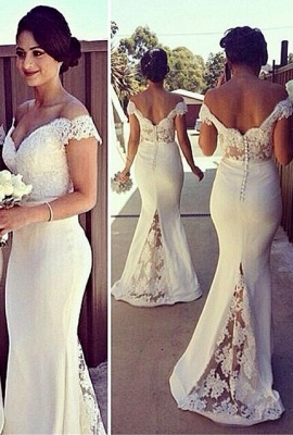 Sexy Off-shoulder Mermaid Bridesmaid Dress With Lace Appliques_2