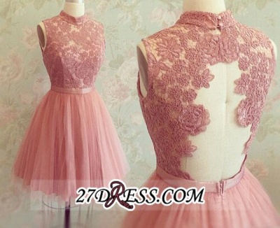 High-Neck Mini Lace Appliques Newest Sleeveless Homecoming Dress_3