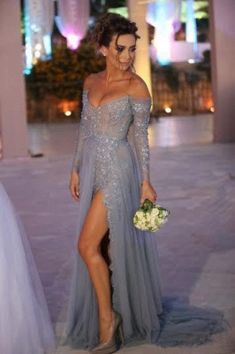 Sexy V-neck Long Sleeve Evening Dress Front Split Open Back Train Prom Gowns With Beadings_1