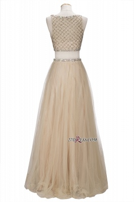 Chic Beading Tulle Two-Piece A-line Prom Dresses_4