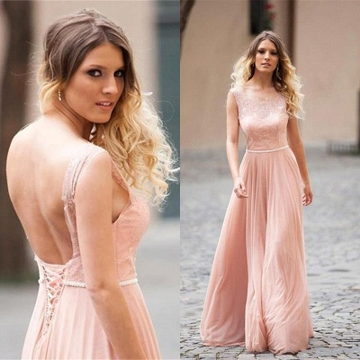 Lovely Pink Sleeveless 2020 Prom Dress Long Lace Tulle_3