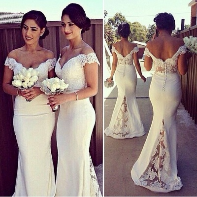 Sexy Off-shoulder Mermaid Bridesmaid Dress With Lace Appliques_3