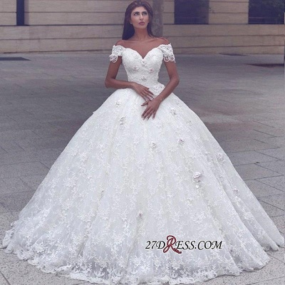 Ball-Gown Lace Glamorous Cap-Sleeve Lace Wedding Dress_1