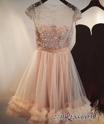 Tulle A-line Beading Capped-Sleeves Sheer Champagne Homecoming Dresses_3