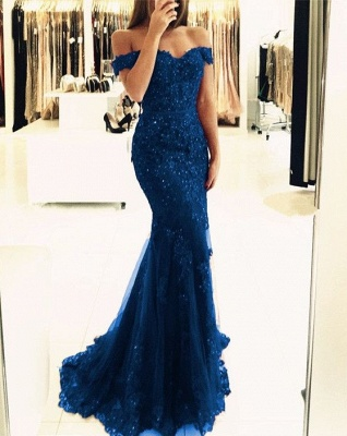 2020 Appliques Off-the-shoulder Red Lace Glamorous Mermaid Evening Dress_4