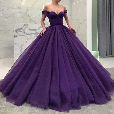 Glamorous Off-the-Shoulder-Grape Prom Dresses | 2020 Ball Gown Evening Dresses_2