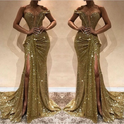 Gorgeous One-Shoulder Sequins Prom Dress | Golden Mermaid Evening Gowns With Split_3
