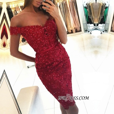 Beadings Short Sheath Red Off-the-Shoulder Appliques Sexy Tight Homecoming Dress qq0326_1