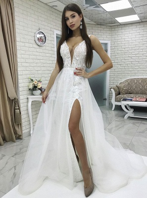 Glamorous White V-Neck Floor-Length 2020 Wedding Dress | Lace Appliques Front Split Tulle Bridal Gown_1