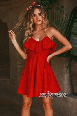 Beautiful Spaghetti-Straps V-neck A-line Homecoming Dresses_3